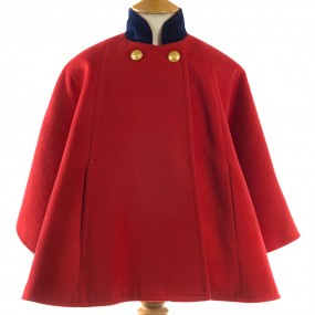 Entrelacitos Red Cape with Navy Trim FROM