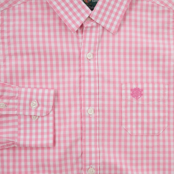 Alan Paine Pink Check Shirt with Cufflink Holes
