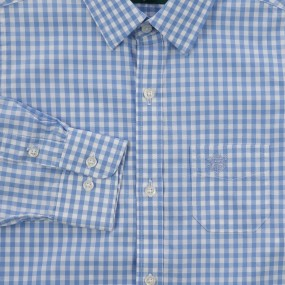 Alan Paine Blue Check Shirt with Cufflink Holes