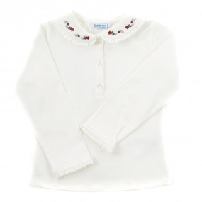 Mayoral L/S Ivory Blouse with Red Detail 104