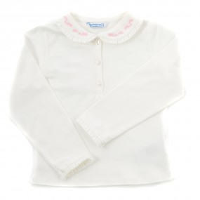Mayoral L/S Ivory Blouse with Pink Detail 104