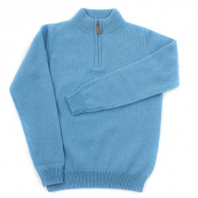 Alan Paine Sky Lambswool Half Zip Jumper