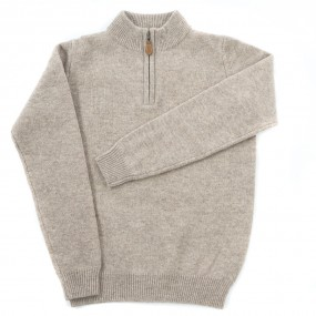 Alan Paine Cobble Lambswool Half Zip Jumper