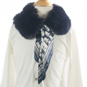Mayoral Faux Fur Collar with Scarf Navy 5942
