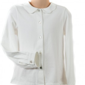 Startsmart Cream Jersey Blouse with Scallop Collar