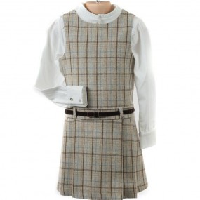 Startsmart Oatmeal Checked Pinafore