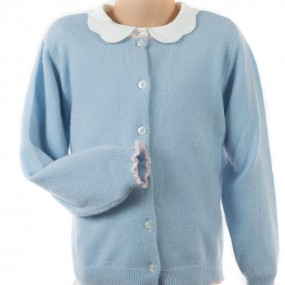 Startsmart Pale Blue Cashmere Cardigan With Pale Pink Trim FROM