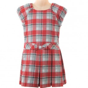Mayoral Red & Grey Check Dress 4921