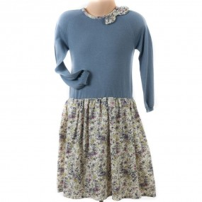JAM Mimi Dress with Liberty Print Skirt - Blue Grey