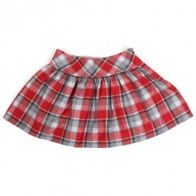 Mayoral Red & Grey Check Skirt 4901