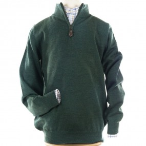 Alan Paine Hunter Green Merino Half Zip jumper
