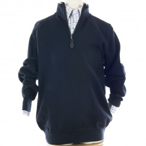 Alan Paine Navy Merino Half Zip Jumper
