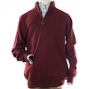 Alan Paine Bordeaux Merino Half Zip jumper