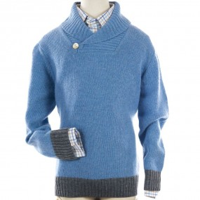 Bobine Pale Blue Roll Neck Jumper with Grey Trim