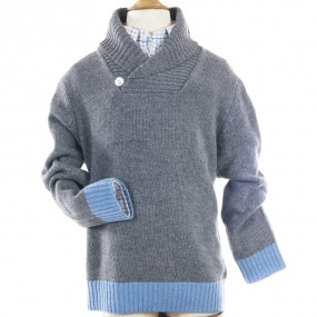 Bobine Grey Roll Neck Jumper with Pale Blue Trim