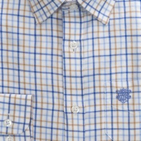 Alan Paine Blue and Tan Check Shirt with Cuff Link Holes