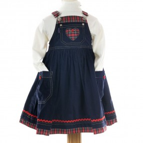 Nicki B Navy Cord Pinafore with Red Tartan Trim FROM