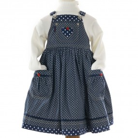 Nicki B Navy Chambray Pinafore with Polka Dot Trim FROM