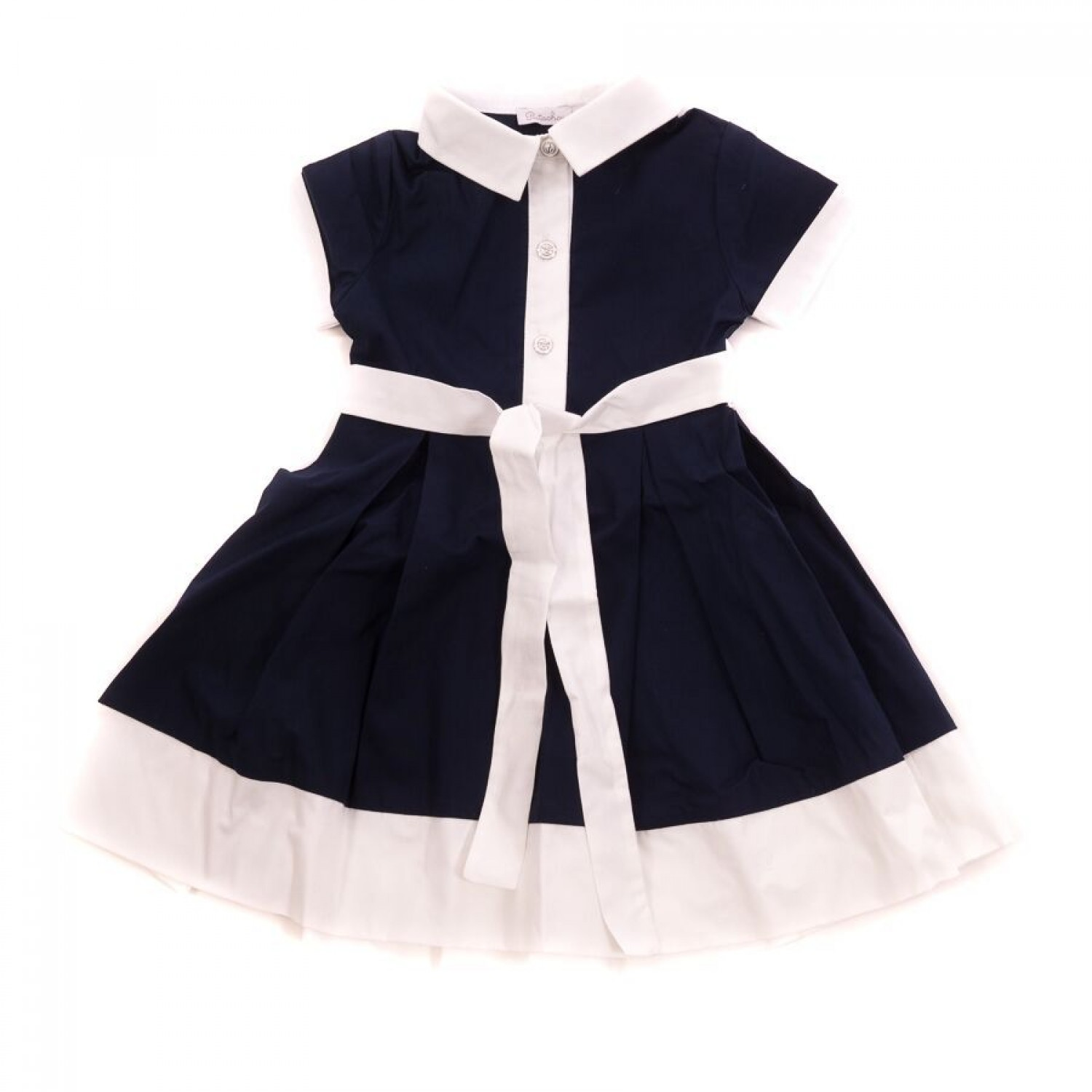 667c603f0d37 Patachou Navy and White Belted Dress
