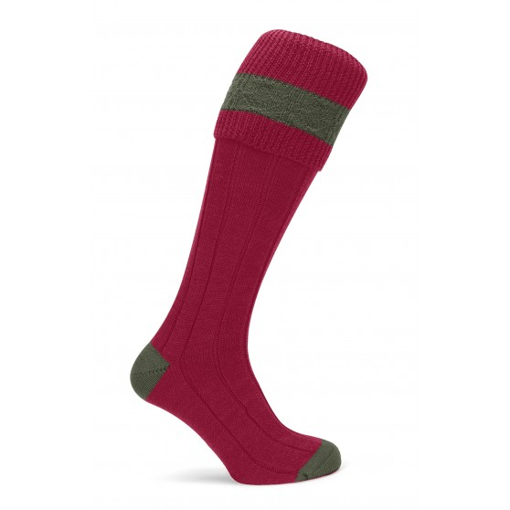 Pennine Ruby Byron Shooting Sock With Olive Trim