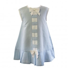 Powell Craft Pale Blue Linen Dress