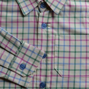 Ruth Lednik Cream Shirt with Pink, Green and Pale Blue Overcheck