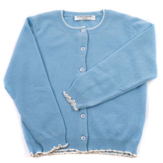 Startsmart Pale Blue and Snow Trim Cashmere Cardigan FROM