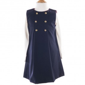 Startsmart Navy Pinafore Tartan Trim