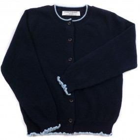 Startsmart Navy Cashmere Cardigan with Pale Blue Trim FROM