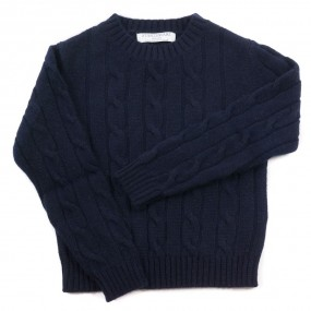 Startsmart Navy Cashmere Cable Knit Jumper