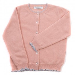 Startsmart Peach Pink Cashmere Cardigan with Pale Blue Trim FROM