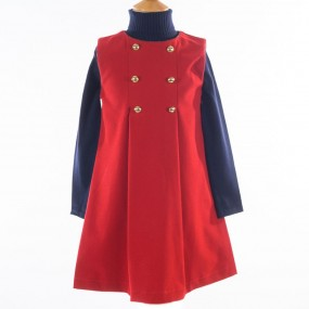Startsmart Red Pinafore with Tartan Trim