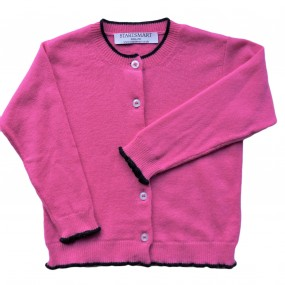 Startsmart Bright Pink & Dark Navy Trim Cashmere Cardigan FROM